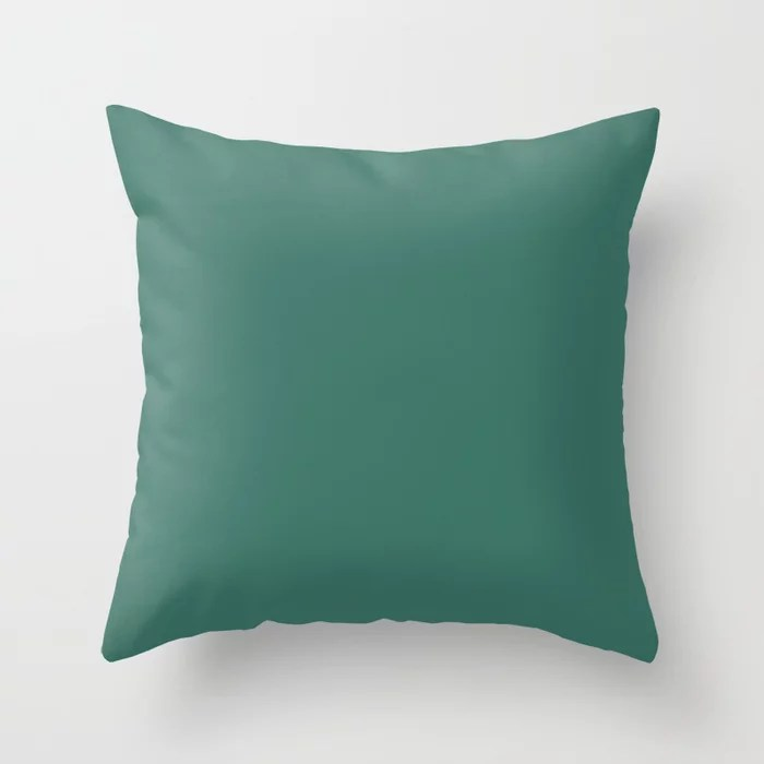 Dark Green Single Solid Color HGTV 2021 Color Of The Year Suggested Accent Shade Cloverflields Throw Pillow