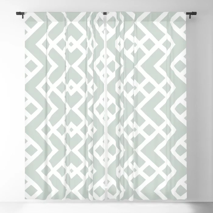 Mint Green and White Tessellation Pattern 25 Behr 2022 Color of the Year Breezeway MQ3-21 Blackout Curtain. Spring/Summer 2022 color forecast