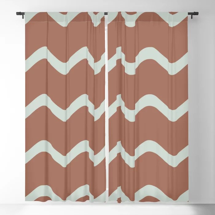 Mint Green and Terracotta Line - Stripe Pattern Behr 2022 Color of the Year Breezeway MQ3-21 Blackout Curtain. Color for 2022