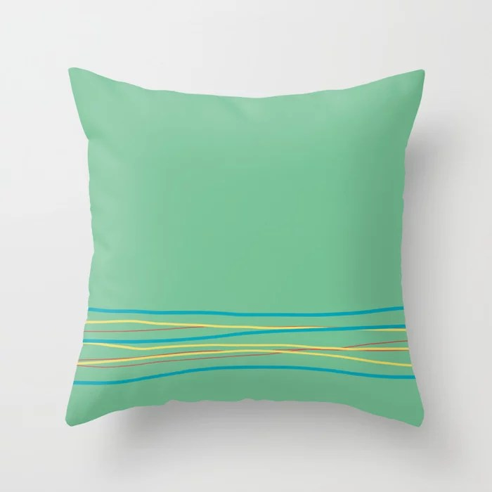 Green Aqua Red Yellow Scribble Line Design Bottom 2021 Color of the Year AI Aqua and Accent Shades Throw Pillow