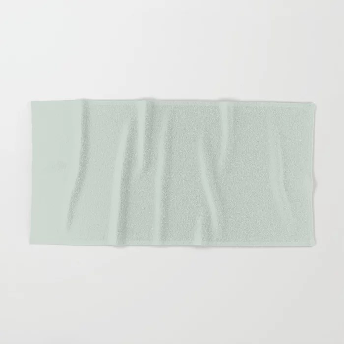 Pastel Green Solid Color bath and hand towels Pairs Behr 2022 Color of the Year Breezeway MQ3-21. 2022 color scheme, trending interior design hue.