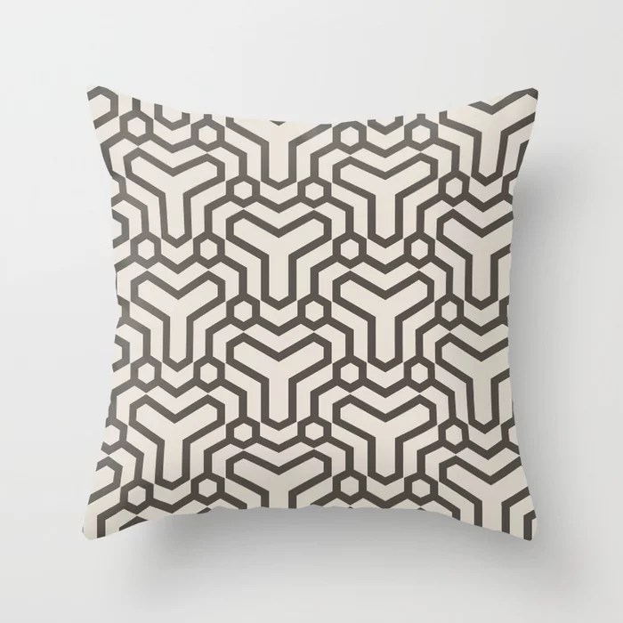 Brown and Cream Line Art Pattern 5 Shapes 2021 Color of the Year Urbane Bronze and Shoji White Throw Pillow