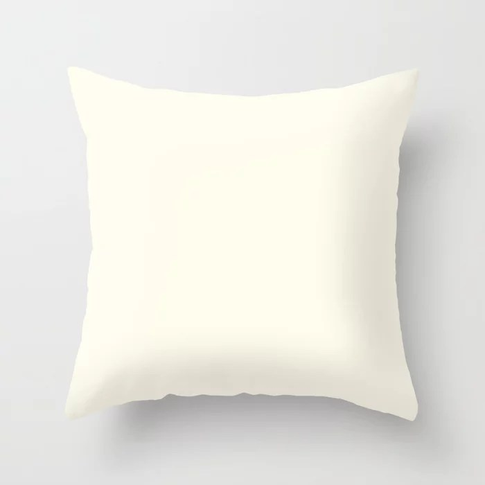 Creamy Off-White Single Solid Color HGTV 2021 Color Of The Year Suggested Accent Shade Bohemian Lace Throw Pillow
