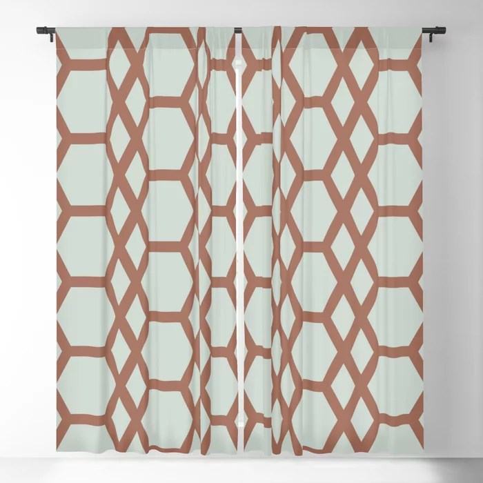 Mint Green and Terracotta Tessellation Pattern 13 Behr 2022 Color of the Year Breezeway MQ3-21 Blackout Curtain. Spring/Summer 2022 color forecast