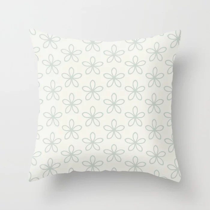 Pastel Green and Cream Minimal Flower Pattern Pairs Behr 2022 Color of the Year Breezeway MQ3-21 Throw Pillow. 2022 color scheme, trending interior design hue.