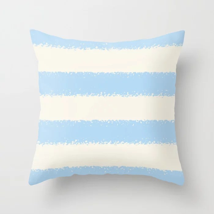 Baby Blue Off-White Minimal 4 Stripe Pattern 2021 Color of the Year Wild Blue Yonder Swiss Coffee Throw Pillow