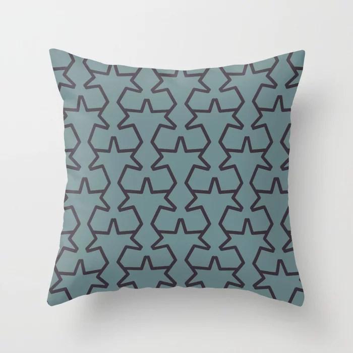 Aqua Purple Geometric Tessellation Pattern 15V2 2021 Color of the Year Aegean Teal & Tulsa Twilight Throw Pillow