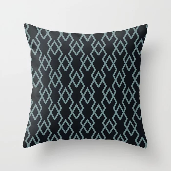 Soft Aqua Blue Black Tessellation Line Pattern 19 2021 Color of the Year Aegean Teal Throw Pillow