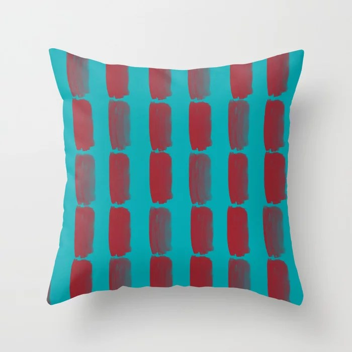 Red and Aqua Grid Brushstroke Pattern 2021 Color of the Year Satin Paprika and Vintage Teal Throw Pillow