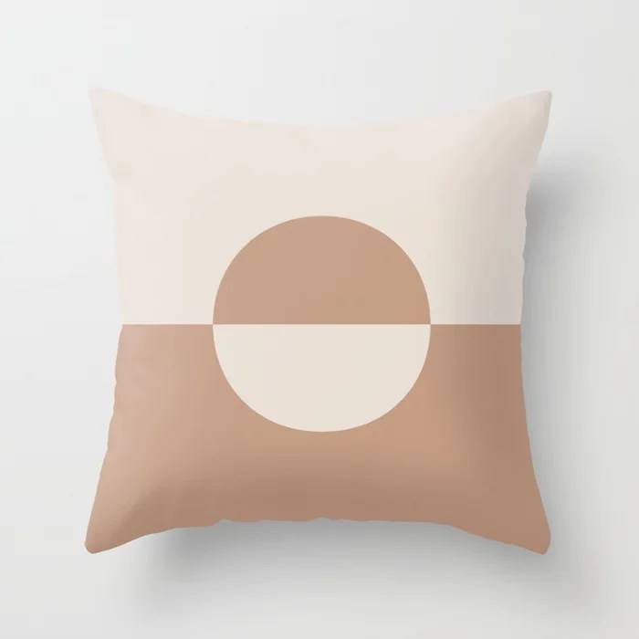 Sandstorm Beige Creamy Off White Circle Design 2 2021 Color of the Year Canyon Dusk Smokey Cream Throw Pillow