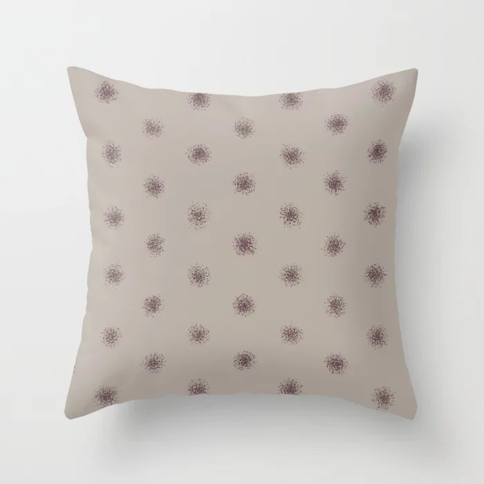 Deep Purple Taupe Gray Splatter Polka Dot Pattern 2021 Color of the Year Epoch and Fondue Throw Pillow