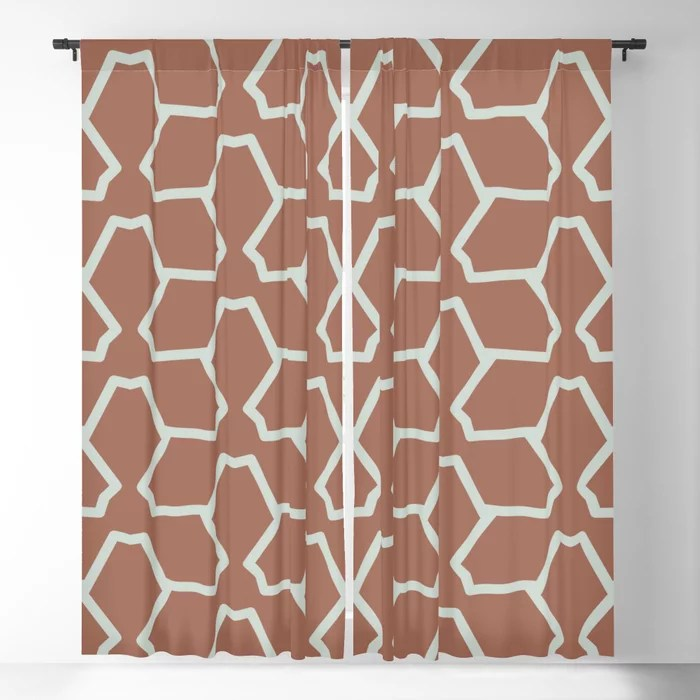Mint Green and Terracotta Tessellation Pattern 12 Behr 2022 Color of the Year Breezeway MQ3-21 Blackout Curtain. Spring/Summer 2022 color forecast