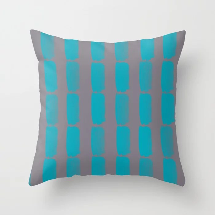 Aqua Blue and Gray Grid Brushstroke Pattern 2021 Color of the Year AI Aqua and Good Gray Throw Pillow