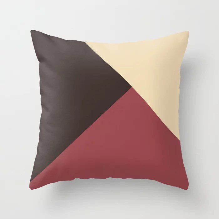 Red Brown Light Beige Solid Color Abstract Design Pairs HGTV 2021 Color of the Year Passionate Throw Pillow