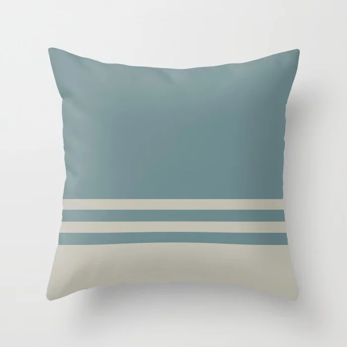Blue-Green Tan Horizontal Stripe Pattern 2021 Color of the Year Aegean Teal and Winterwood Throw Pillow