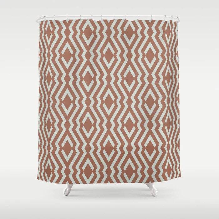 Mint Green and Terracotta Diamond Zig Zag Pattern Behr 2022 Color of the Year Breezeway MQ3-21 Shower Curtain. 2022 color trend