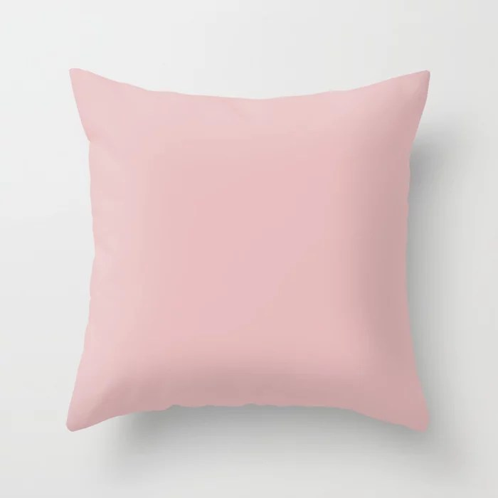 Precious Baby Light Pastel Pink Solid Color - All Colour - Single Shade Pairs w/ Lotus Flower SW6310 Throw Pillow