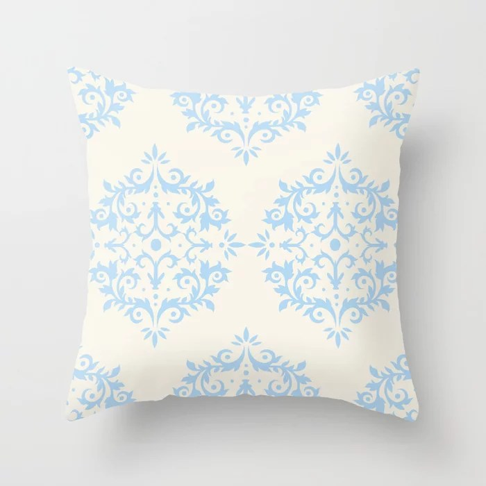 Baby Blue Off-White Damask Scroll Pattern 2021 Color of the Year Wild Blue Yonder Swiss Coffee Throw Pillow