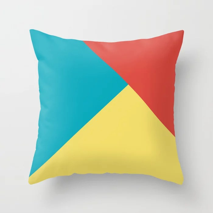 Blue-Green Yellow Red Abstract Pattern 2021 Color of the Year AI Aqua 098-59-30 Throw Pillow