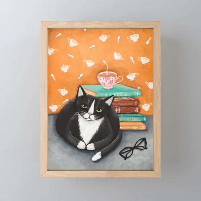 Tuxedo Cat Tea and Books Framed Mini Art Print