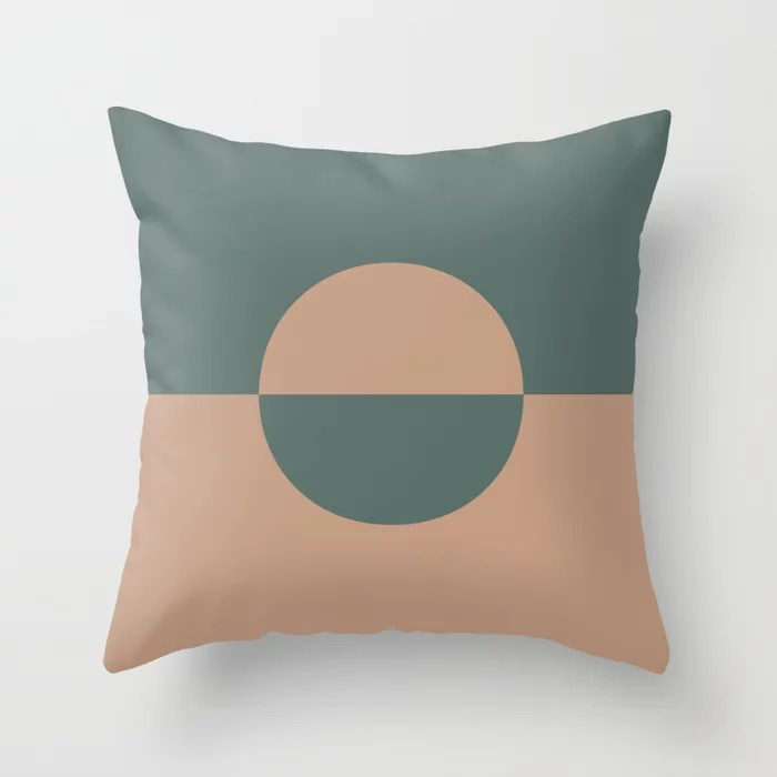 Sand Storm Beige Dark Green Circle Design 2 Behr 2021 Color of the Year Canyon Dusk Meteorological Throw Pillow