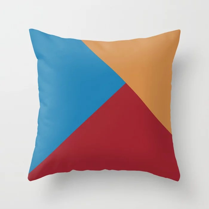Red Blue Orange-Brown Solid Color Abstract Pattern 2021 Color of the Year Satin Paprika and Accents Throw Pillow