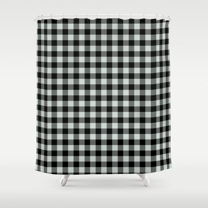 Pastel Green and Black Plaid Checkerboard Pattern Pairs Behr 2022 Color of the Year Breezeway MQ3-21 Shower Curtain. 2022 color trend