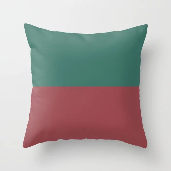 Red Dark Green Minimal Solid Color Line Pattern 2021 Color of the Year Passionate and Cloverfields Throw Pillow