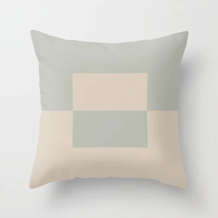 Light Beige Green Gray Minimal Square Design 2: Hues were inspired by and match (pair / coordinate with) 2021 Color of the Year Uptown Ecru and Eucalyptus Throw Pillow