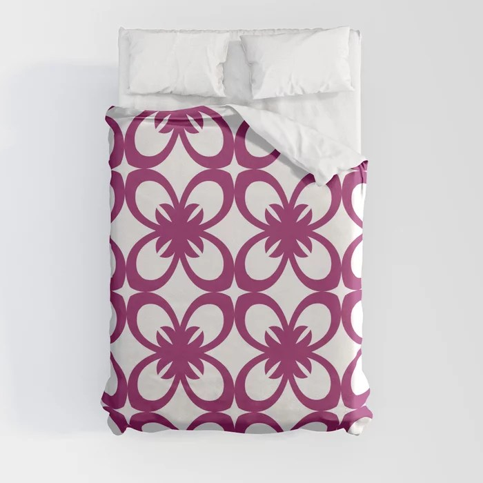 Magenta and White Minimal Floral Flower Pattern - Colour of the Year 2022 Orchid Flower 150-38-31 Duvet Cover - color for 2022