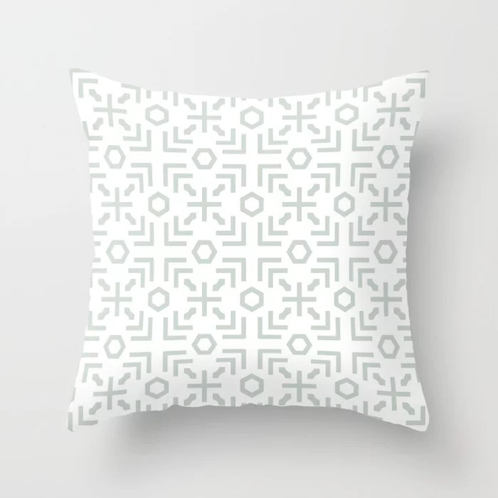 Pastel Green and White Art Deco Abstract Pattern Pairs Behr 2022 Color of the Year Breezeway MQ3-21 Throw Pillow. 2022 color scheme, trending interior design hue.
