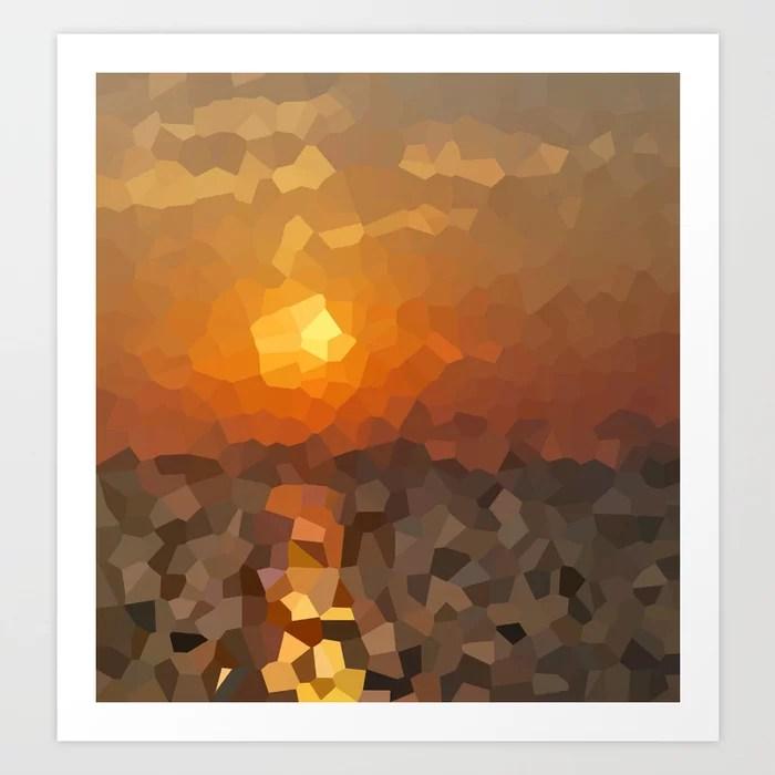 Sunday's Society6   Pixel art print sunset