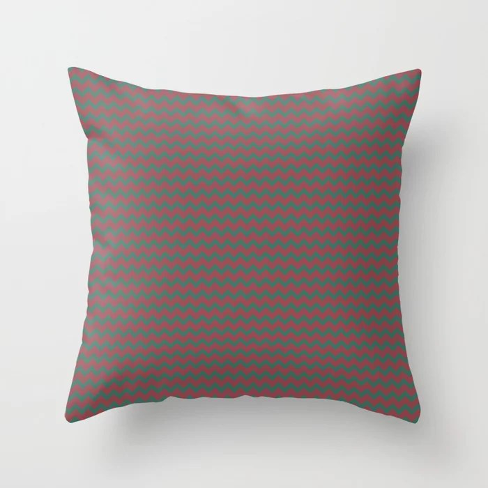 Red and Green Chevron Zigzag Line Pattern 2021 Color of the Year Passionate & Cloverfields Throw Pillow