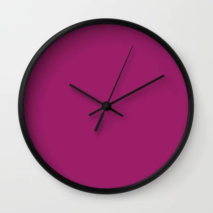 Orchid Flower Deep Pink Purple Solid Color 2022 Colour of the Year Wall Clock. 2022 color trend - color scheme