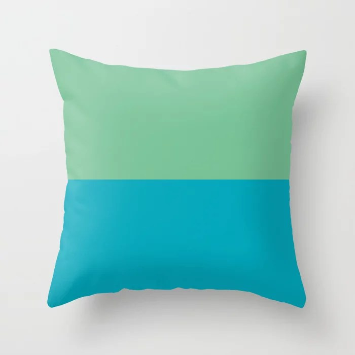 Aqua Blue - Green Horizontal Stripe Line Pattern 2021 Color of the Year AI Aqua and Quiet Wave Throw Pillow