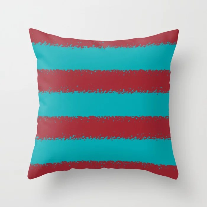 Red Aqua Stripe Pattern V2 Pairs Rustoleum 2021 Color of the Year Satin Paprika and Vintage Teal Throw Pillow