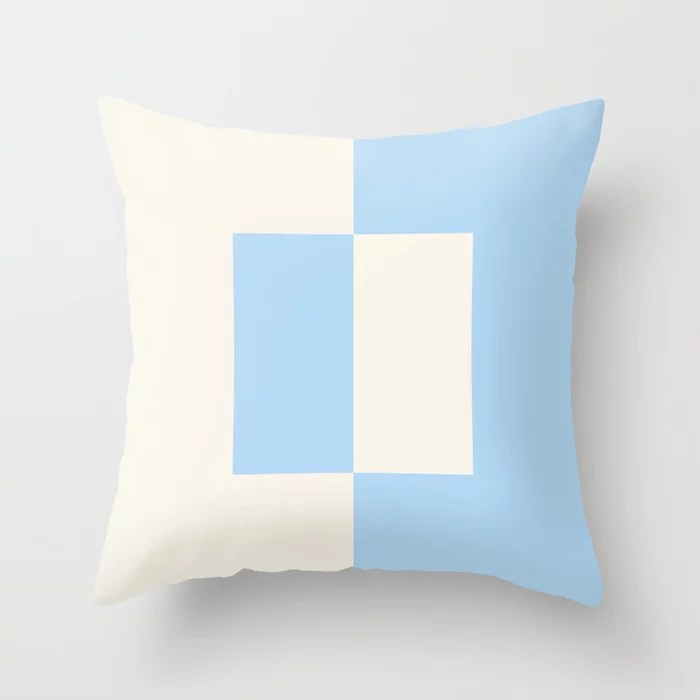Baby Blue Off-White Minimal Square Design 2021 Color of the Year Wild Blue Yonder Swiss Coffee Throw Pillow