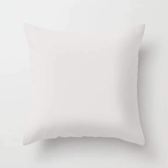 Almost White Trending Solid Color - Hue - Single Shade: Hue inspired by and matches (pairs / coordinates with) Jolie Gesso White Throw Pillow