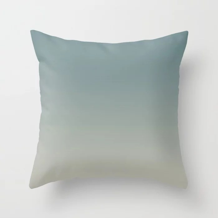 Cool Tropical Blue-Green Tan Gradient Blend 2021 Color of the Year Aegean Teal and Winterwood Throw Pillow