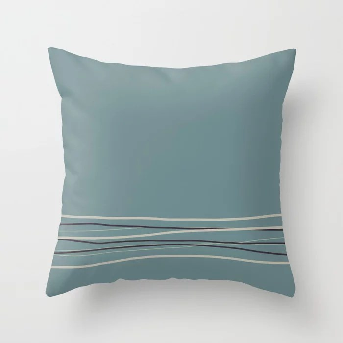 Blue Green Scribble Line Pattern 2021 Color of the Year Aegean Teal and Accent Shades Throw Pillow