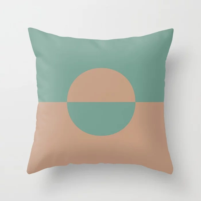 Sandstorm Beige Dark Pastel Green Circle Design 2 Behr 2021 Color of the Year Canyon Dusk Regal View Throw Pillow