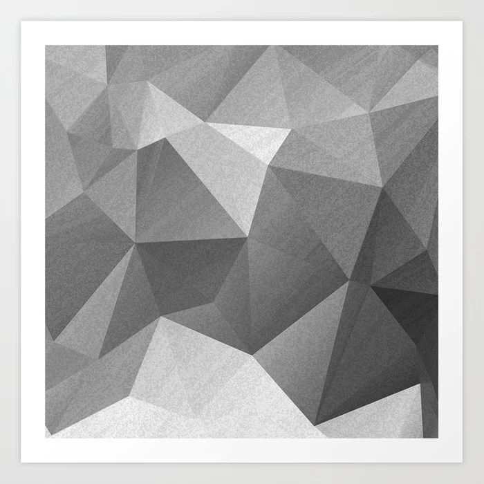 Sunday's Society6 | Fifty shades of grey polygonal art print with geomatric pattern