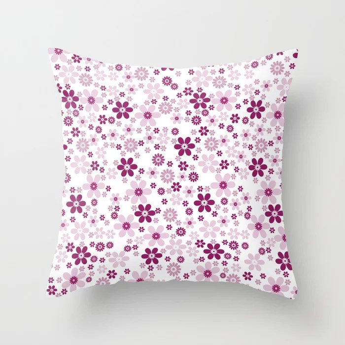Magenta and White Simple Floral Flower Pattern - Colour of the Year 2022 Orchid Flower 150-38-31 Throw Pillow