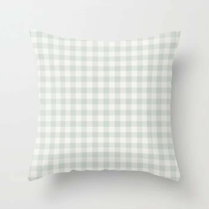 Pastel Green and Cream Buffalo Plaid Pairs Behr 2022 Color of the Year Breezeway MQ3-21 Throw Pillow. 2022 color scheme, trending interior design hue.