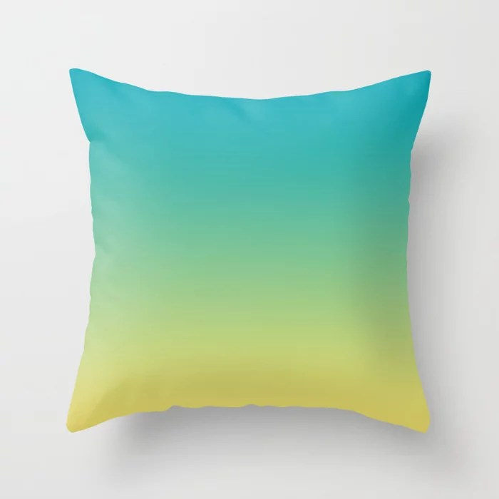 Aqua Blue and Yellow Gradient Ombre Blend 2021 Color of the Year AI Aqua and Lemon Sherbet Throw Pillow