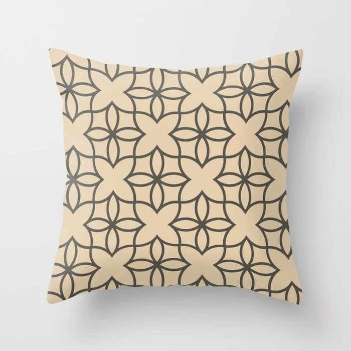 Brown and Tan Line Art Pattern 4 Flower 2021 Color of the Year Urbane Bronze and Ivoire Throw Pillow