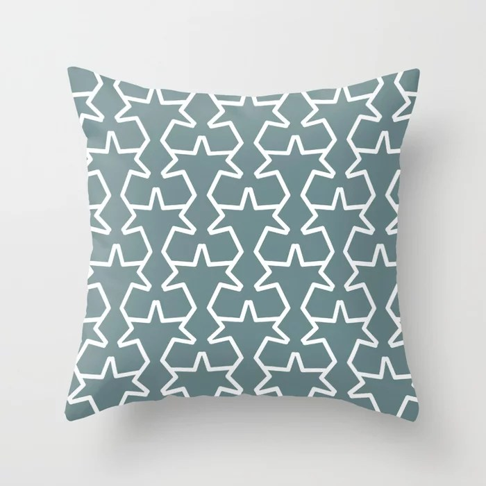 Aqua and White Geometric Tessellation Pattern 15V2 Pairs 2021 Color of the Year Aegean Teal Throw Pillow