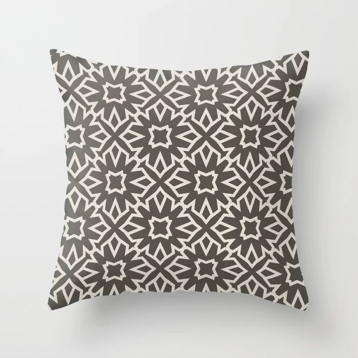 Brown and Cream Line Art Pattern 5 Flower 2021 Color of the Year Urbane Bronze and Shoji White Throw Pillow