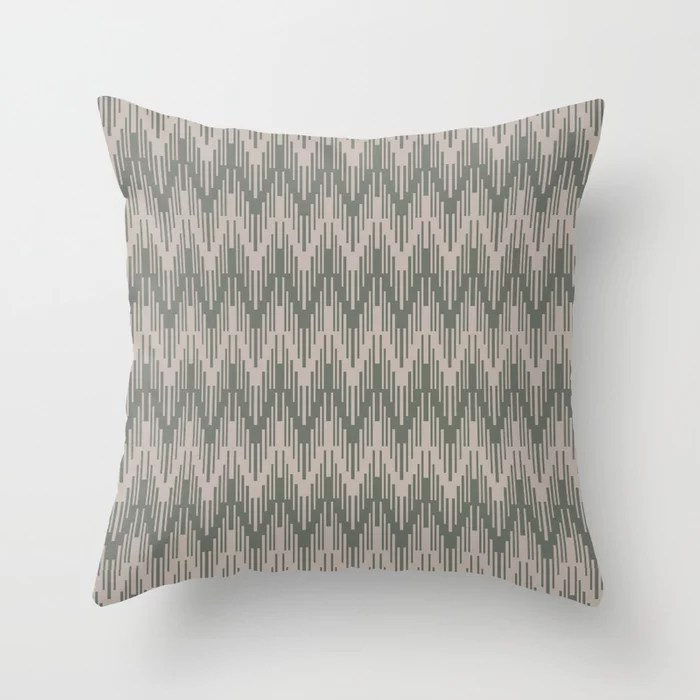 Moody Green Neutral Beige Chevron Ripple Pattern 2021 Color of the Year Contemplative and Stucco Throw Pillow