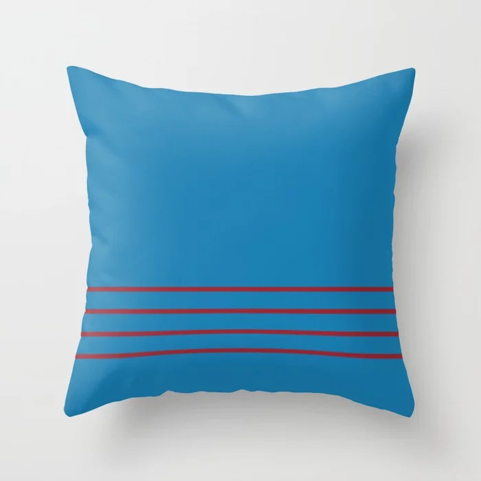 Blue and Red Thin 4 Stripe Pattern 2021 Color of the Year Satin Paprika and Satin Lagoon Throw Pillow